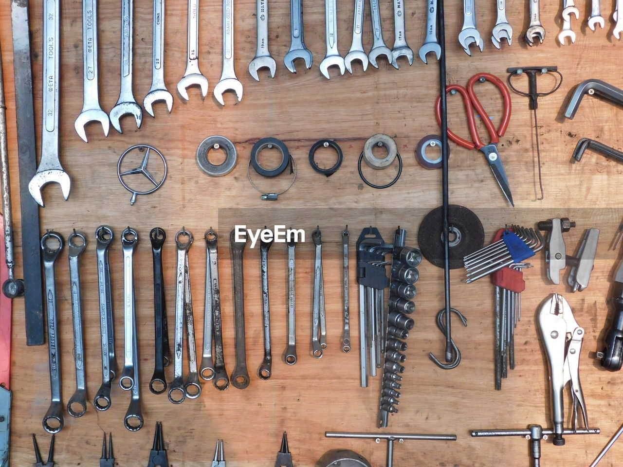 Various Work Tools Hanging On Wall