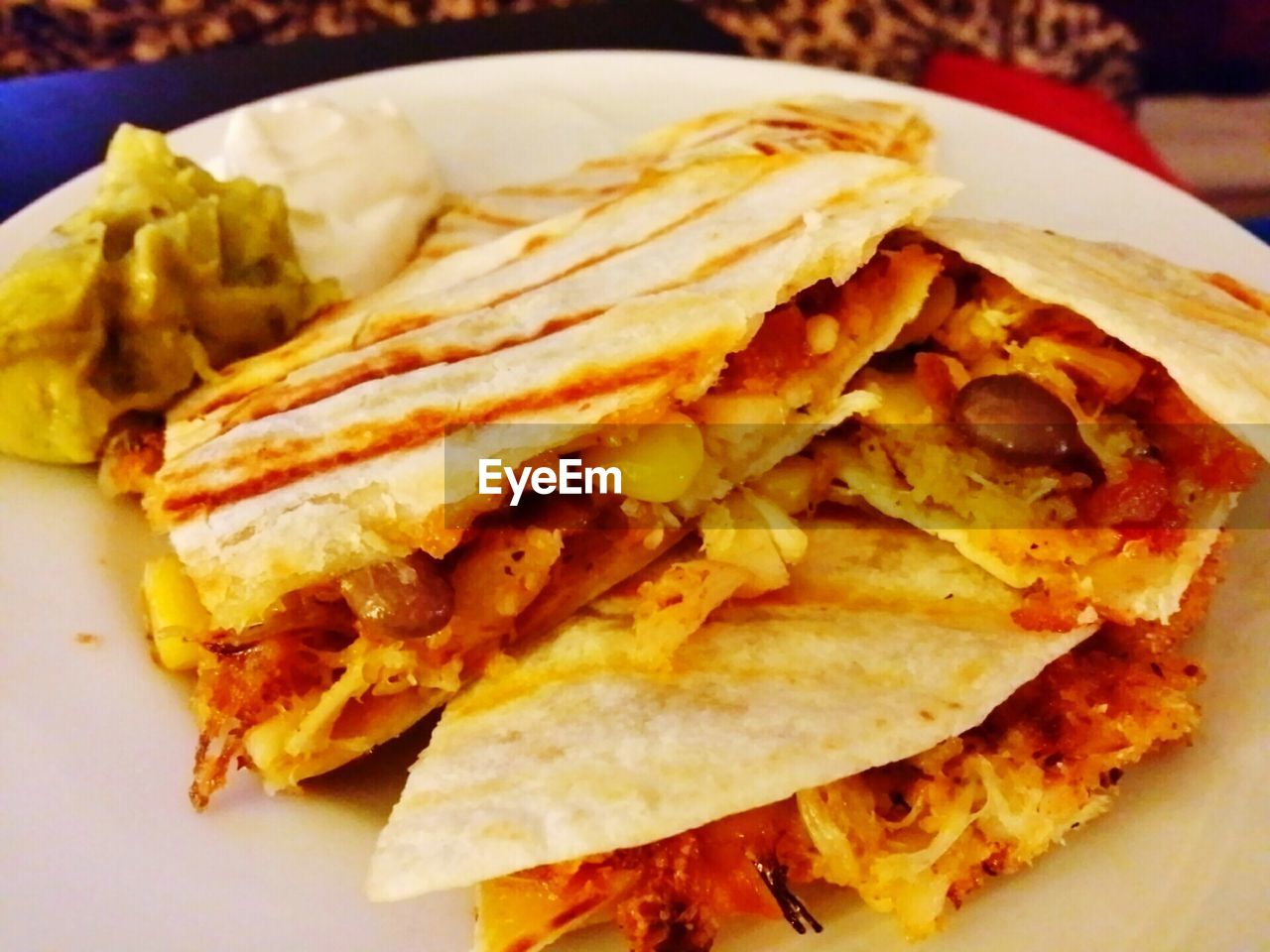 Close-Up Of Crab Quesadilla In Plate At Home