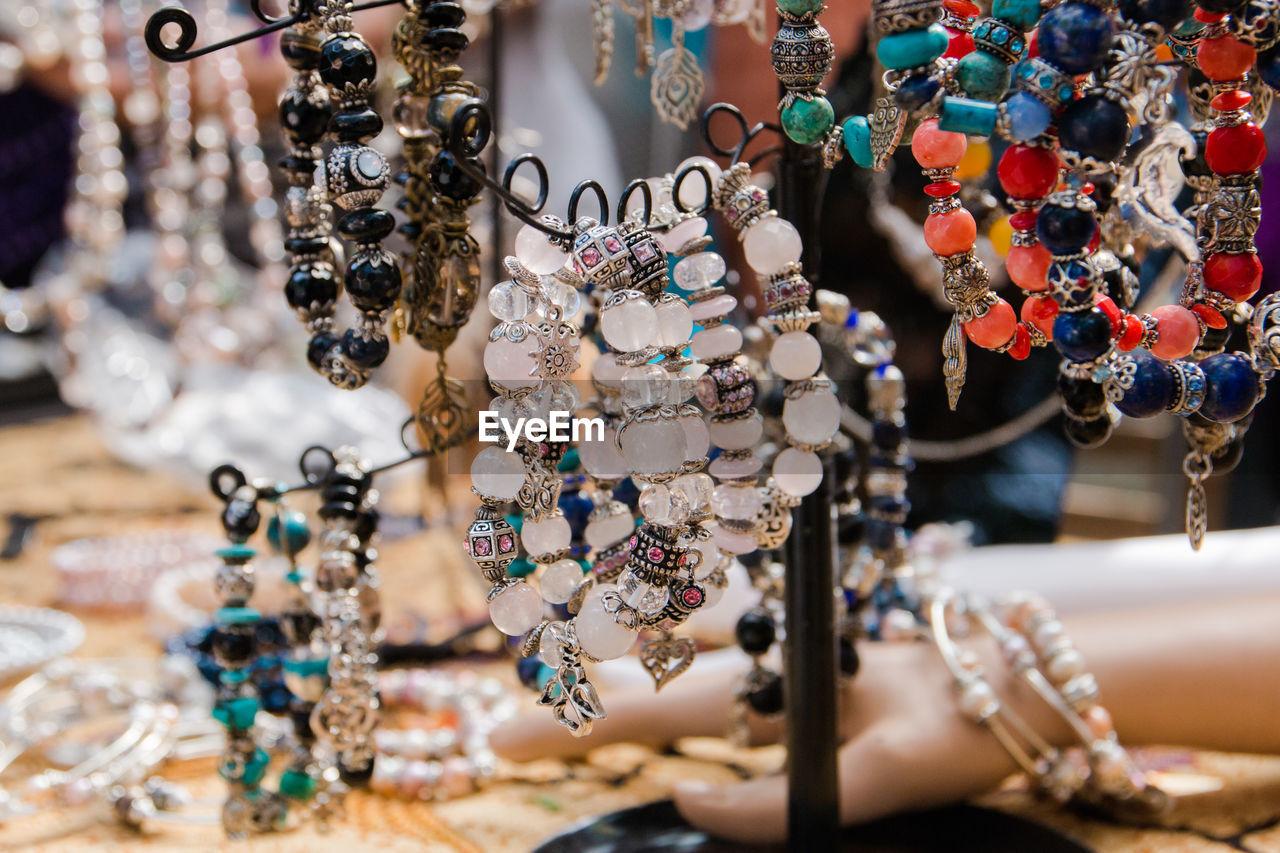 Bracelets Hanging For Sale At Market