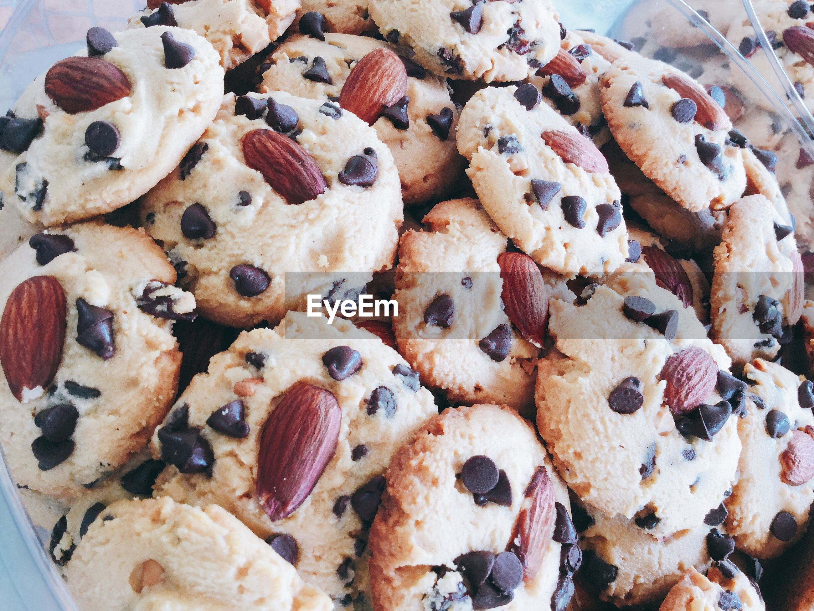 High angle view of homemade cookies in bowl