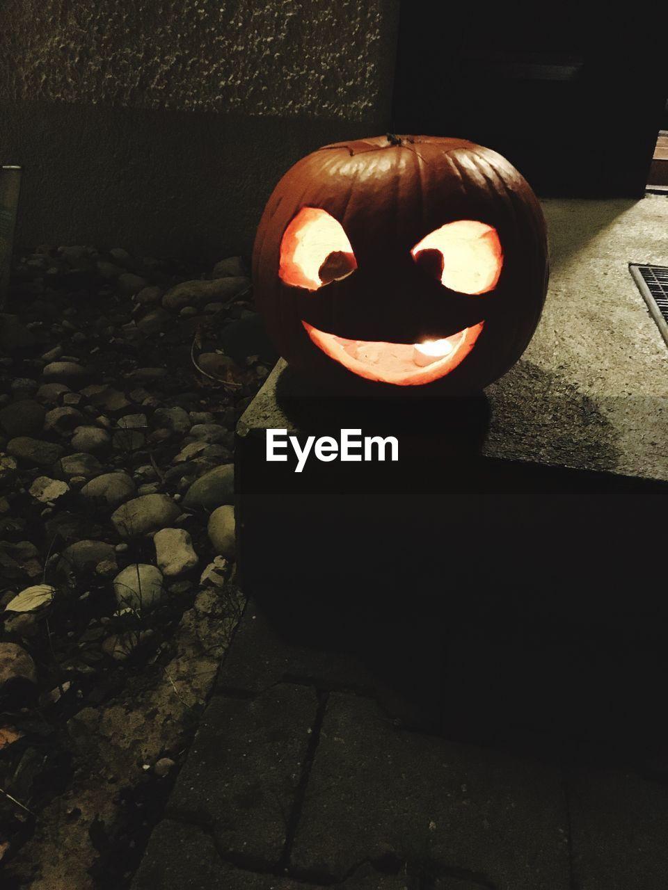 pumpkin, halloween, creativity, anthropomorphic face, art and craft, jack o lantern, no people, celebration, night, spooky, shadow, outdoors, lantern, illuminated, close-up