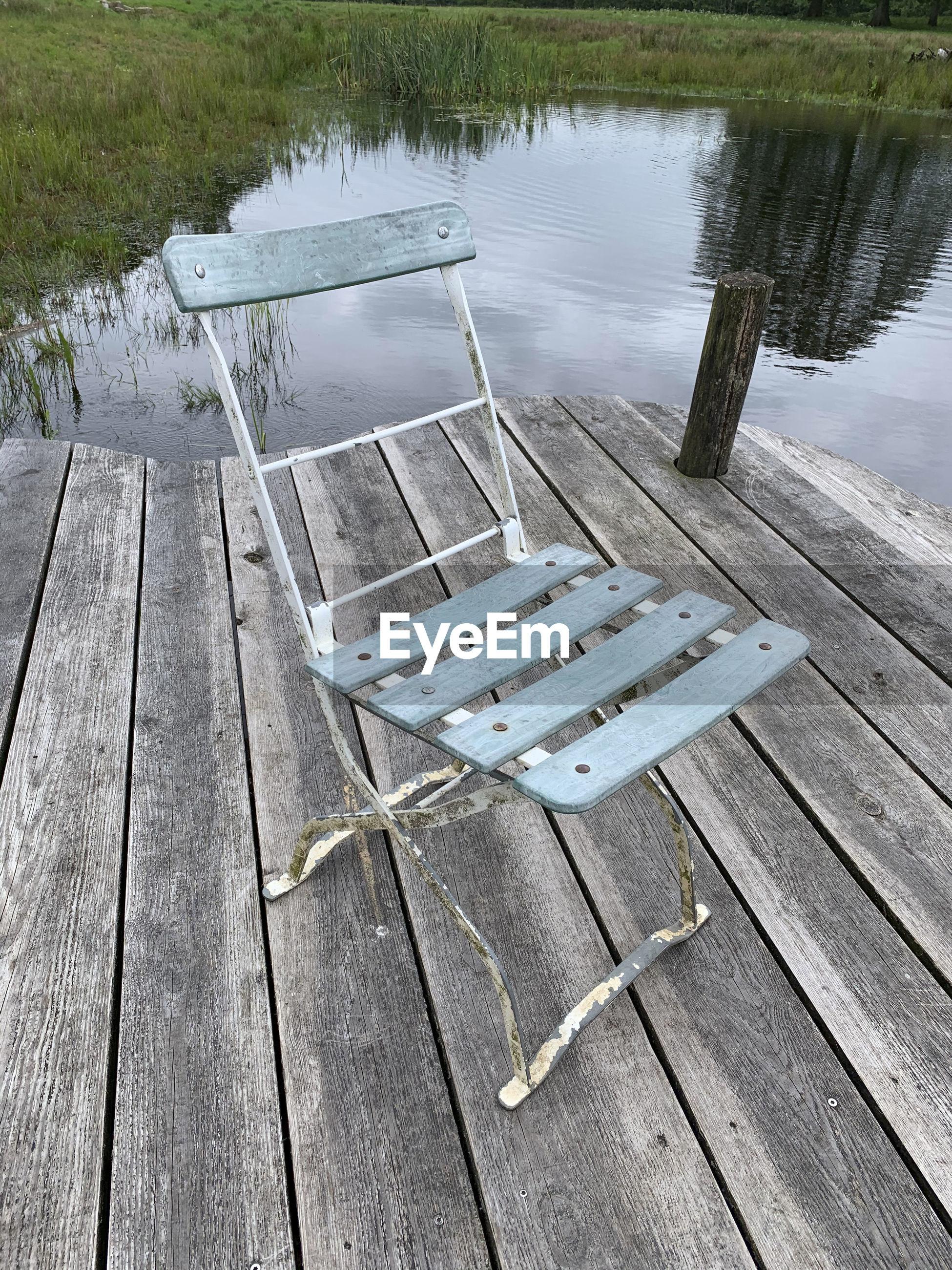 HIGH ANGLE VIEW OF PIER AND LAKE