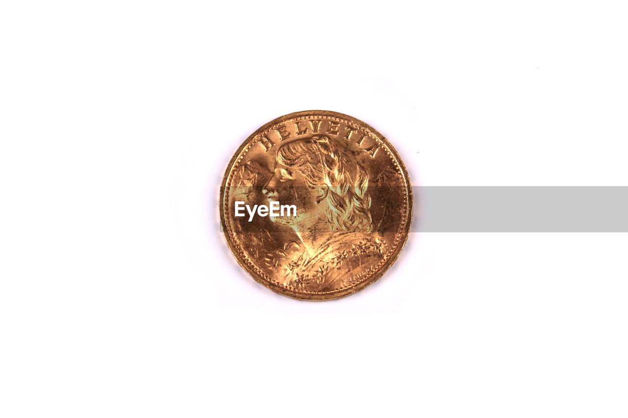 gold colored, coin, white background, finance, gold, studio shot, wealth, single object, currency, close-up, savings, no people