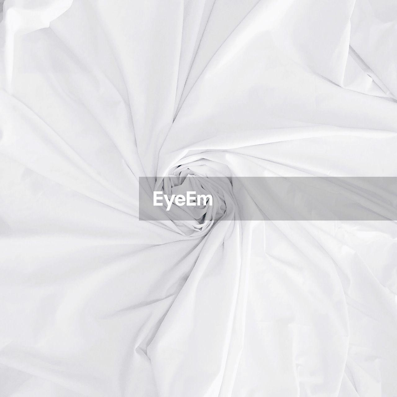 Full Frame Shot Of White Sheet On Bed
