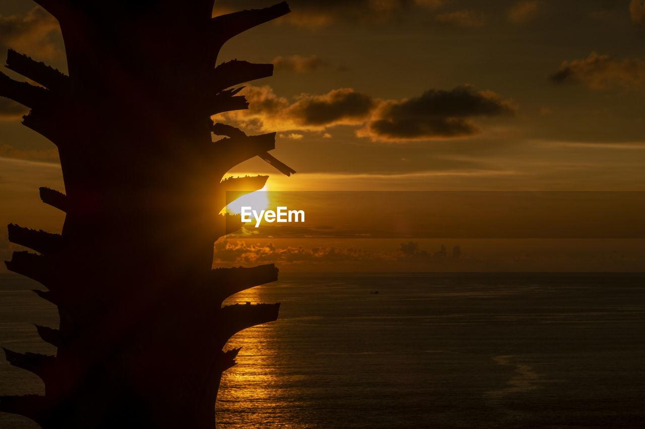 sunset, sky, water, sea, cloud - sky, scenics - nature, beauty in nature, orange color, horizon, nature, silhouette, horizon over water, no people, tranquility, tranquil scene, sun, idyllic, sunlight, non-urban scene, outdoors, cruise ship