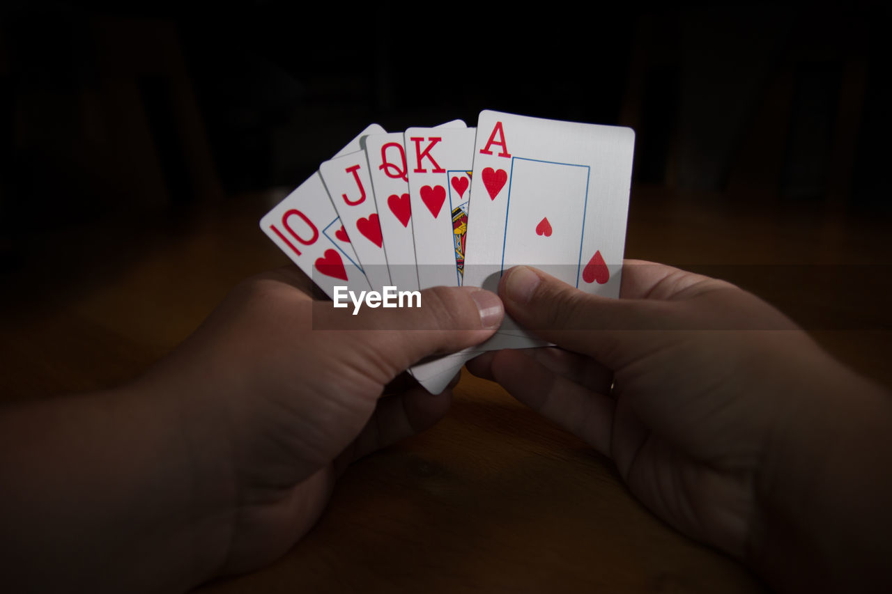 Close-Up Of Hand Holding Playing Cards