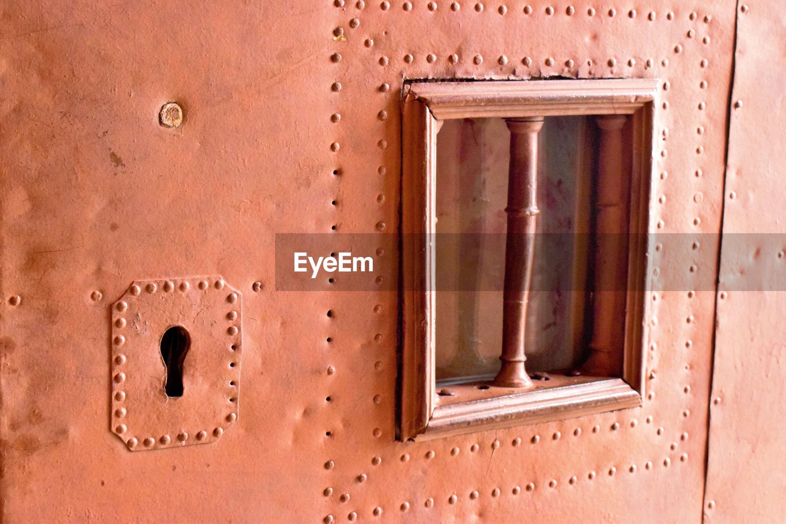 Close-up of old metallic door