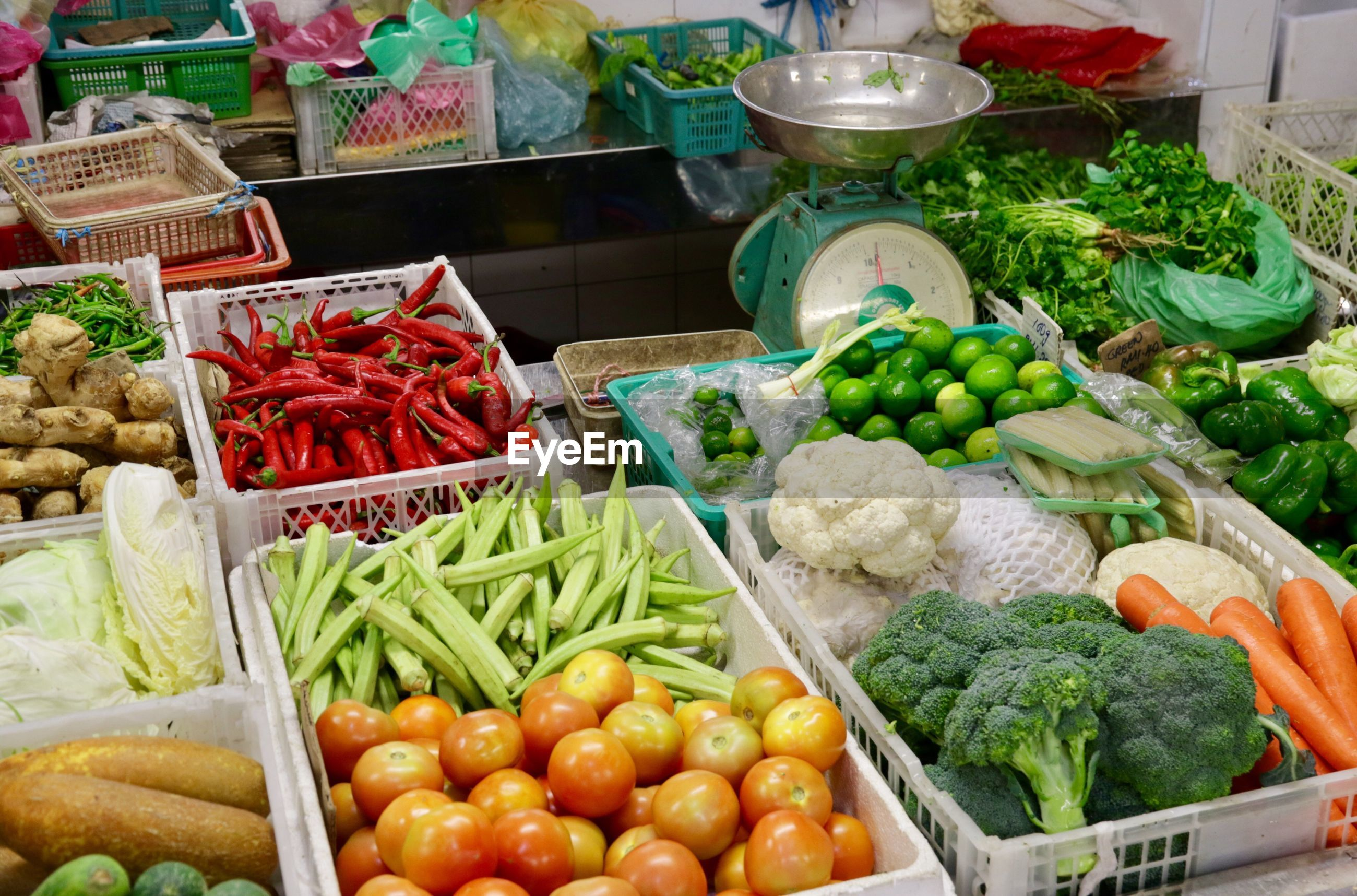 High angle view of various vegetables for sale in market