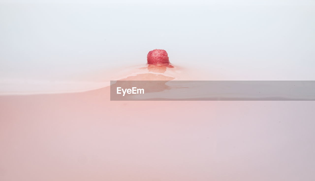 Close-up of woman nipple in bathtub