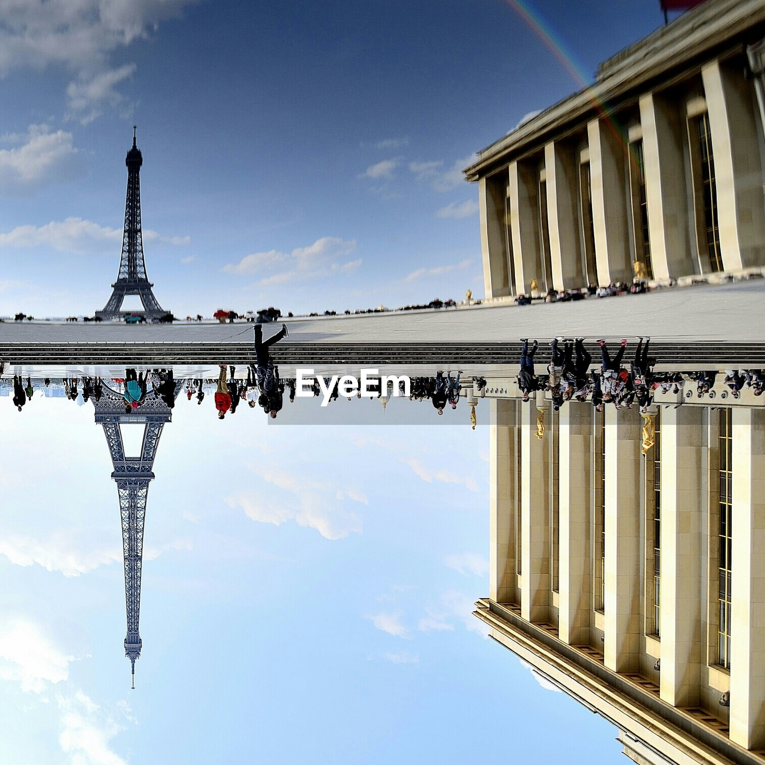 Reflection of eiffel tower in water