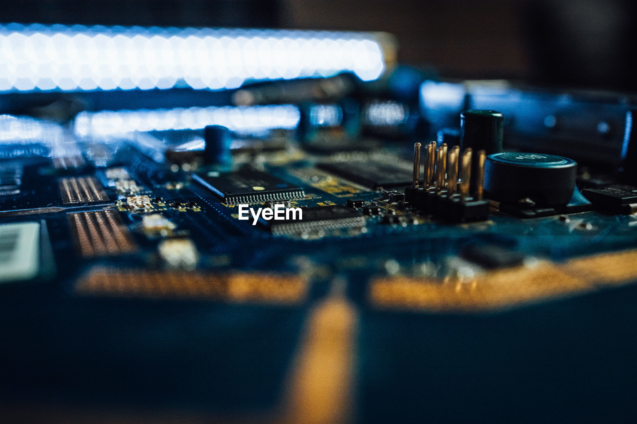Close-up of computer parts on table
