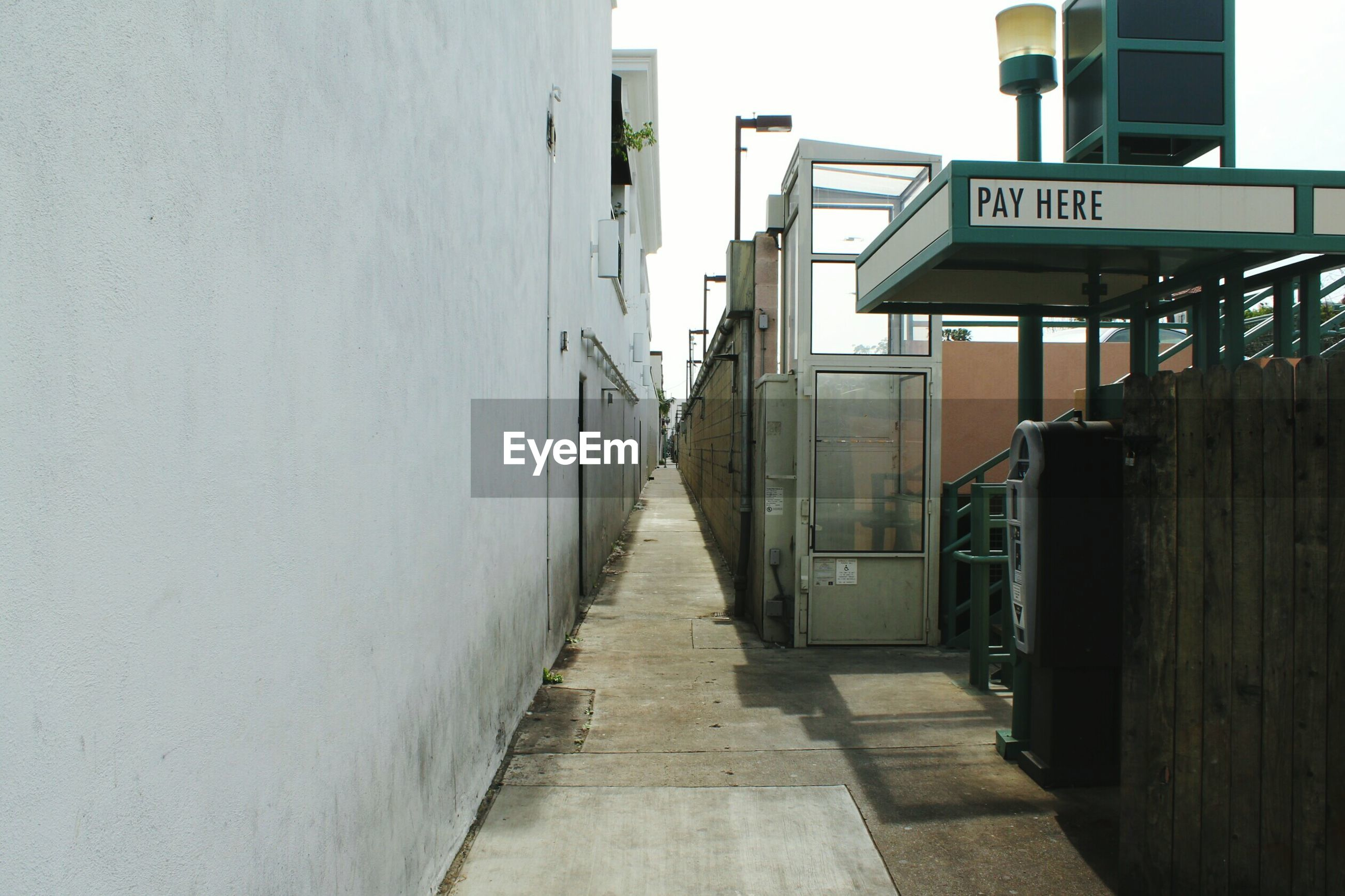 Empty alley by building