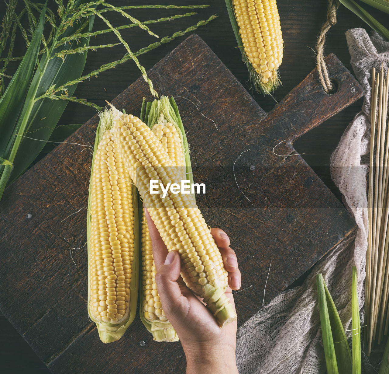 Midsection Of Woman Holding Corn