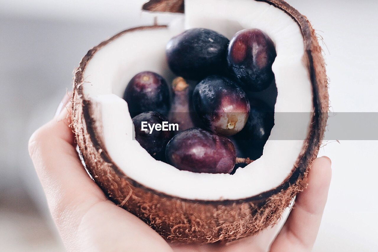 Cropped Image Of Hand Holding Coconut And Fruits