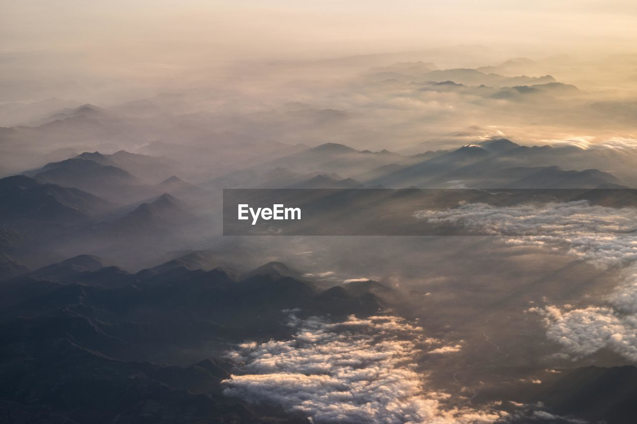 Aerial View Of Landscape During Sunrise
