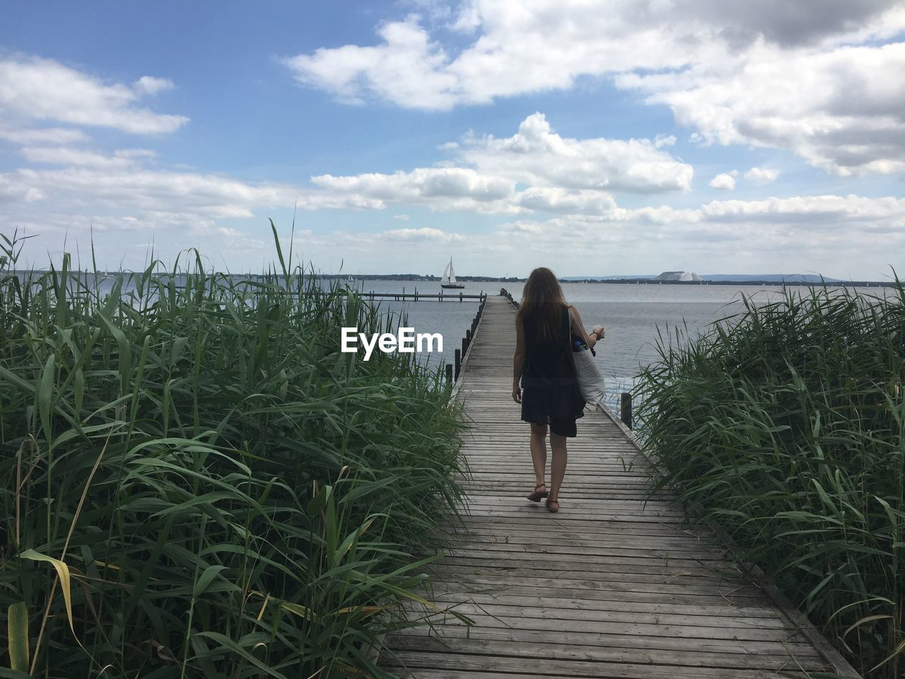 Full Length Rear View Of Woman Walking On Pier Amidst Plants Against Sea And Sky