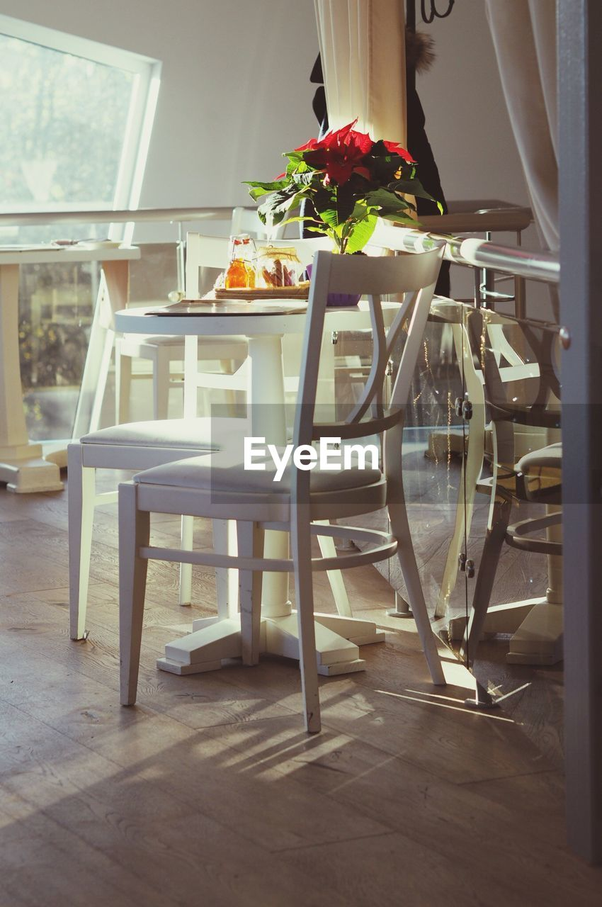 chair, table, indoors, absence, dining table, no people, furniture, home interior, place setting, flower, dining room, wood - material, day, close-up