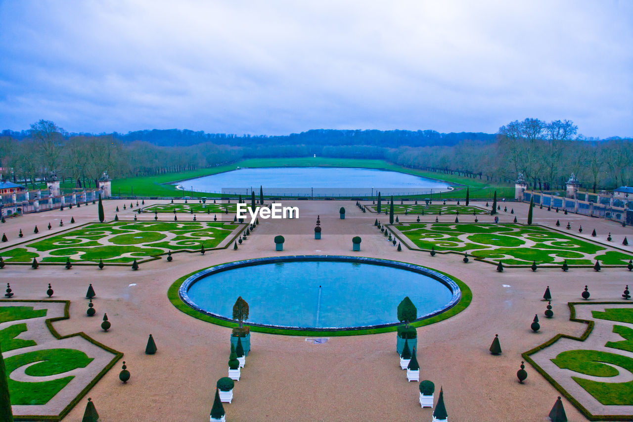 sky, water, swimming pool, sport, day, outdoors, nature, stadium, no people