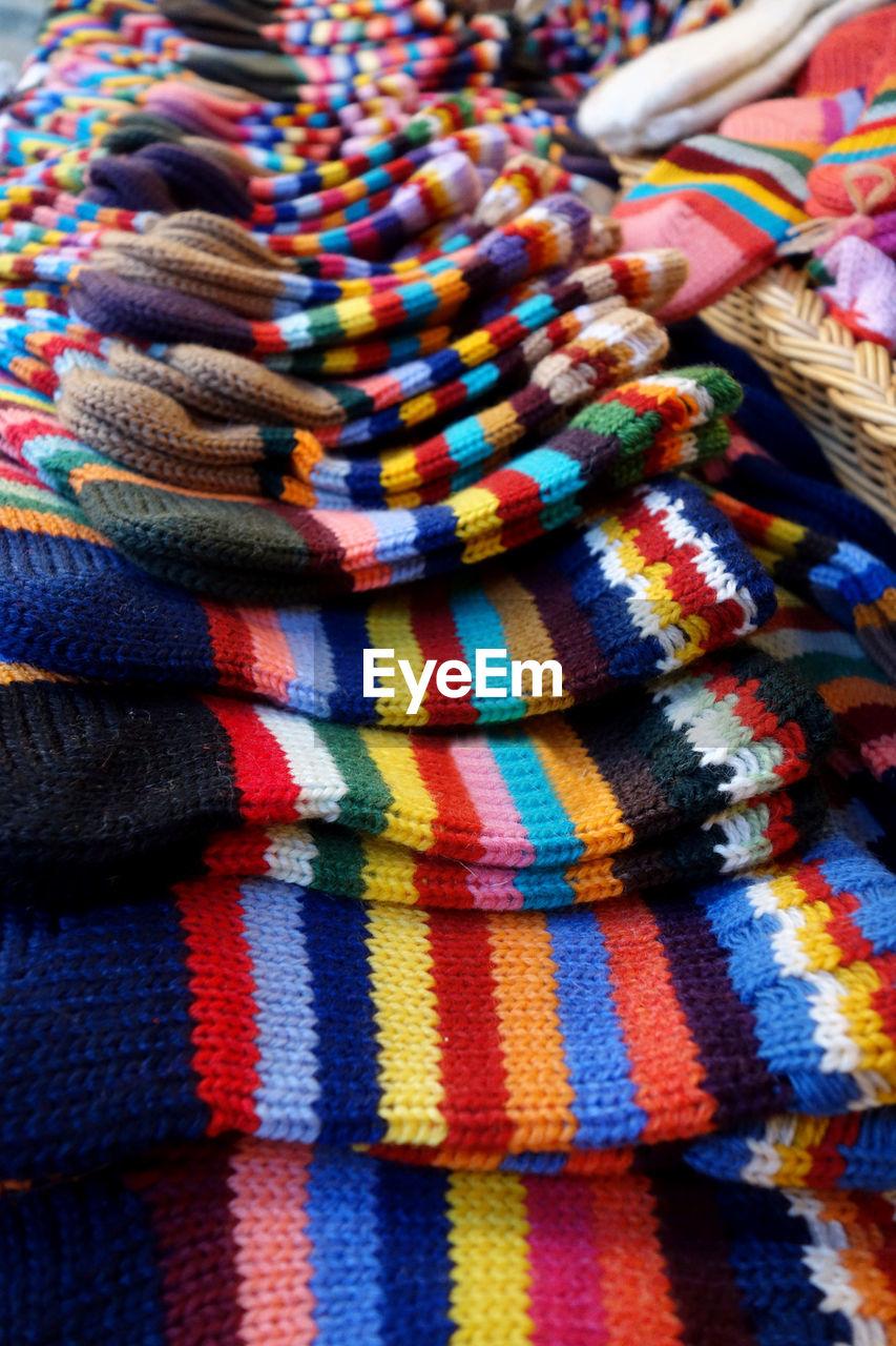 Full frame shot of multi colored socks for sale