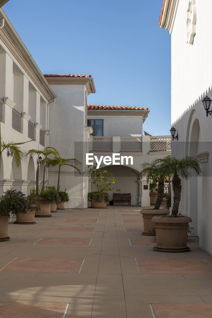 building exterior, architecture, built structure, building, plant, residential district, potted plant, nature, house, sky, clear sky, no people, day, outdoors, window, white color, sunlight, tropical climate, palm tree, city, luxury, courtyard, tiled floor, houseplant