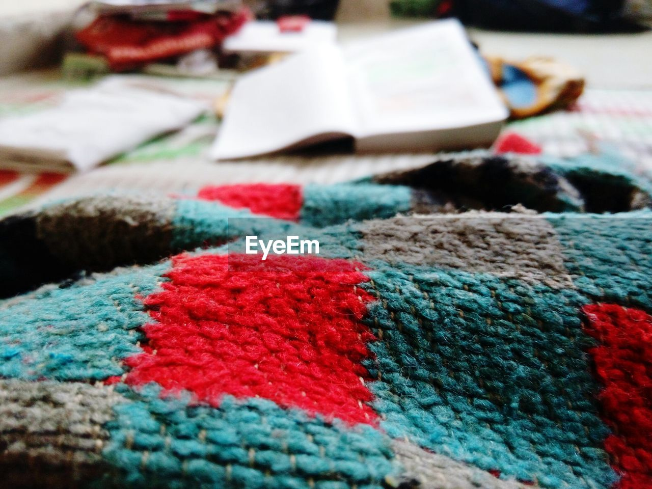 Close-up of woolen blanket at home