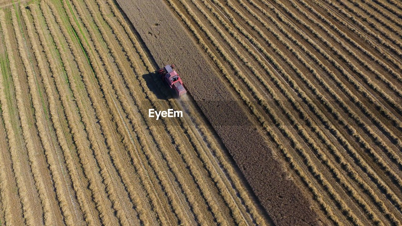 Aerial View Of Tractor On Field