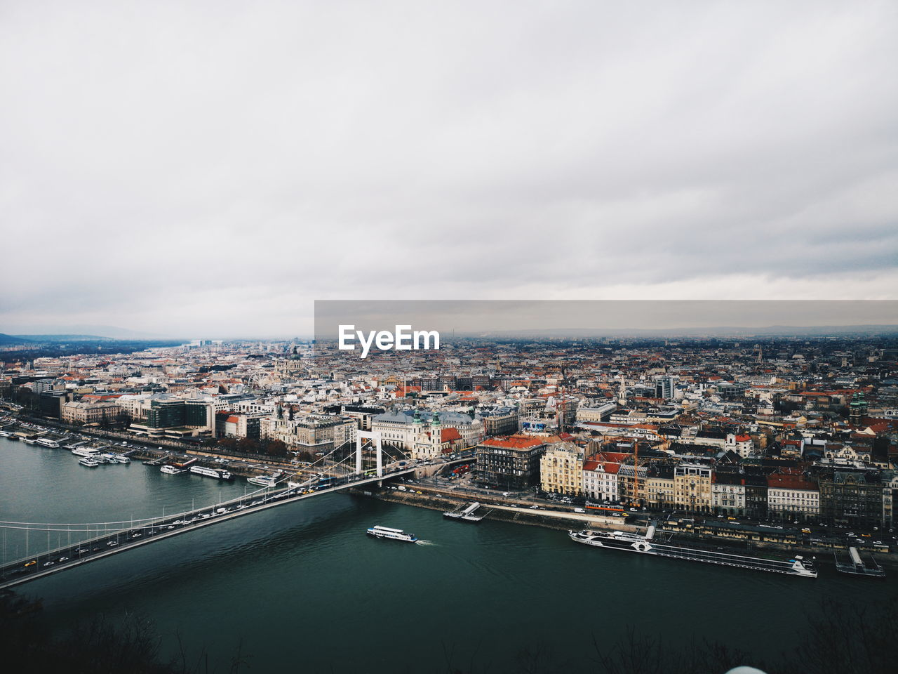 High angle view of river and cityscape