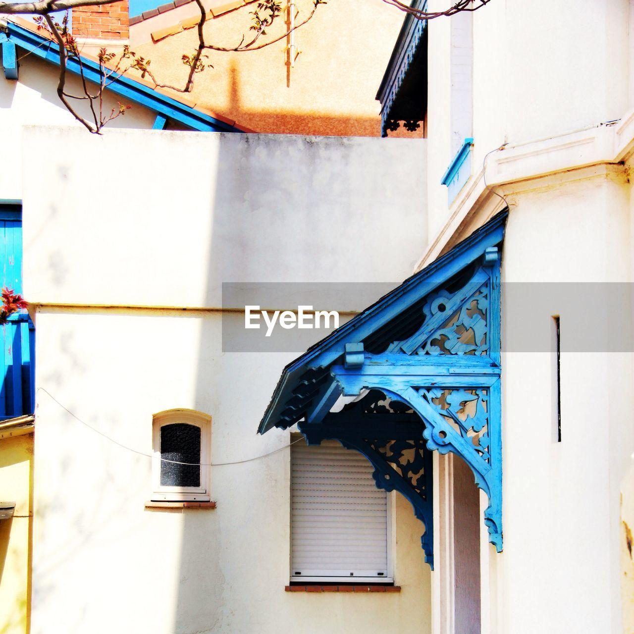 Close up image of building exteriors