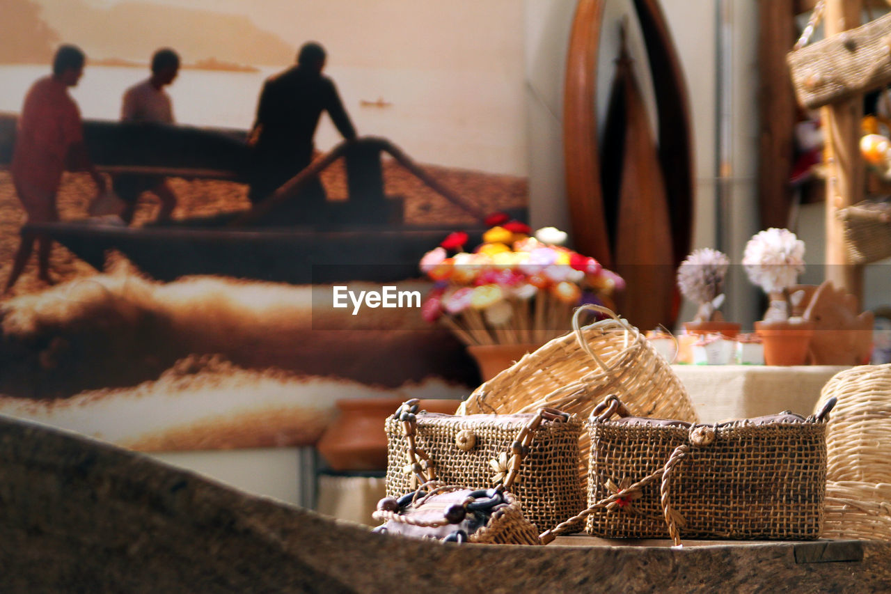 basket, flower, food, indoors, real people, day, close-up