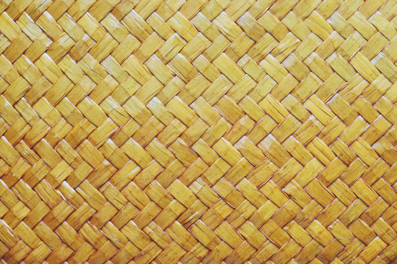 backgrounds, pattern, full frame, textured, wicker, woven, no people, close-up, indoors, textile, basket, crisscross, art and craft, material, yellow, brown, container, bamboo - material, wood - material, mat, abstract, textured effect, intertwined