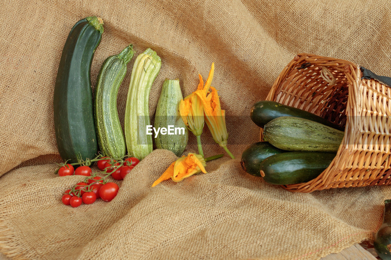 VEGETABLES ON WICKER BASKET