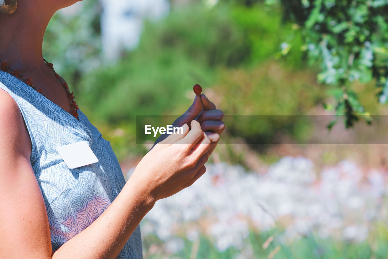 Cropped Image Of Woman Holding Seed