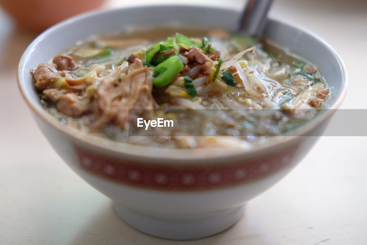 food and drink, food, bowl, ready-to-eat, freshness, indoors, table, healthy eating, soup, still life, close-up, no people, wellbeing, pasta, selective focus, meat, italian food, vegetable, serving size, soup bowl, crockery, japanese food, temptation