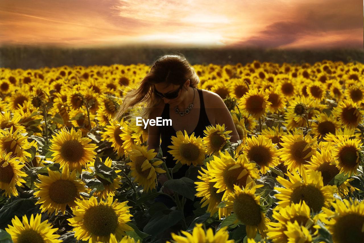 Beautiful Woman Standing On Sunflower Field During Sunset