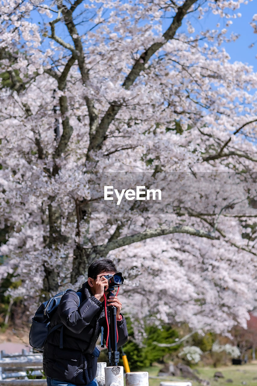 plant, tree, camera - photographic equipment, nature, leisure activity, photography themes, real people, beauty in nature, day, lifestyles, springtime, flower, people, holding, standing, flowering plant, activity, adult, men, three quarter length, outdoors, cherry blossom, digital camera, photographer