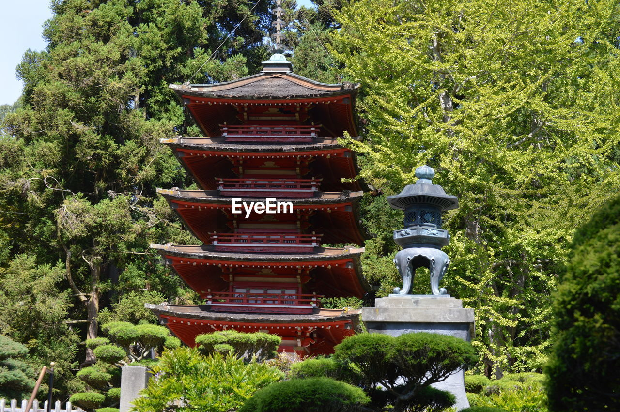 Low angle view of pagoda against trees
