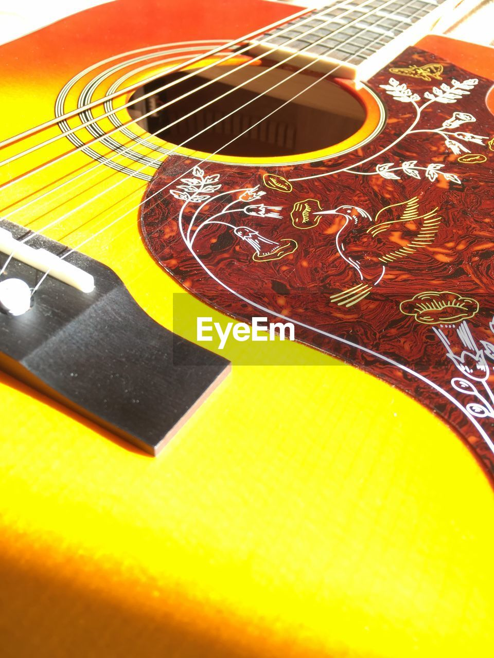indoors, music, table, no people, high angle view, close-up, guitar, musical instrument, day