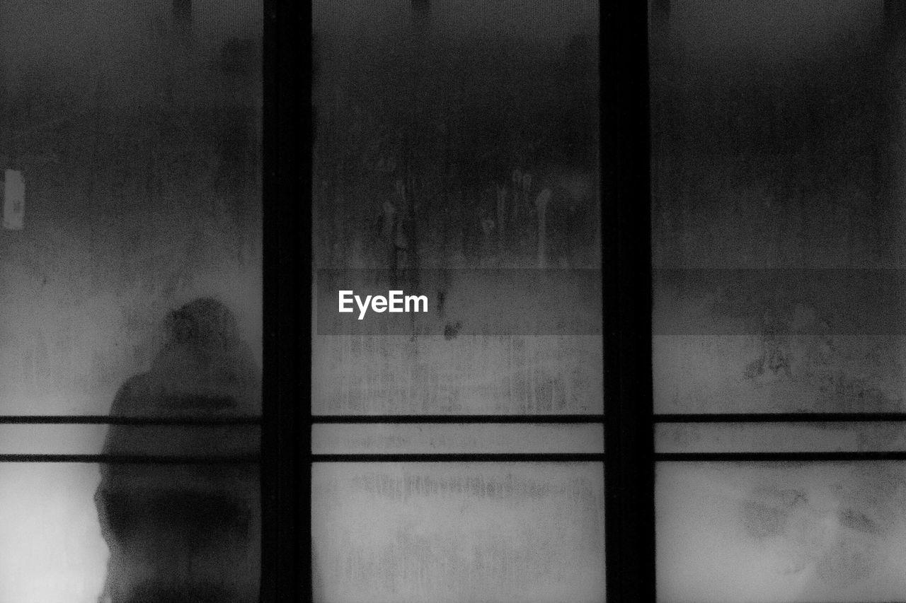 Silhouette Person Seen Through Glass