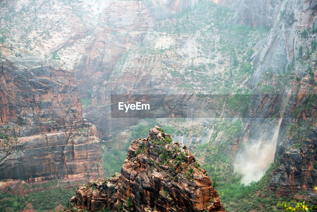 Scenic View Of Waterfall At Zion National Park