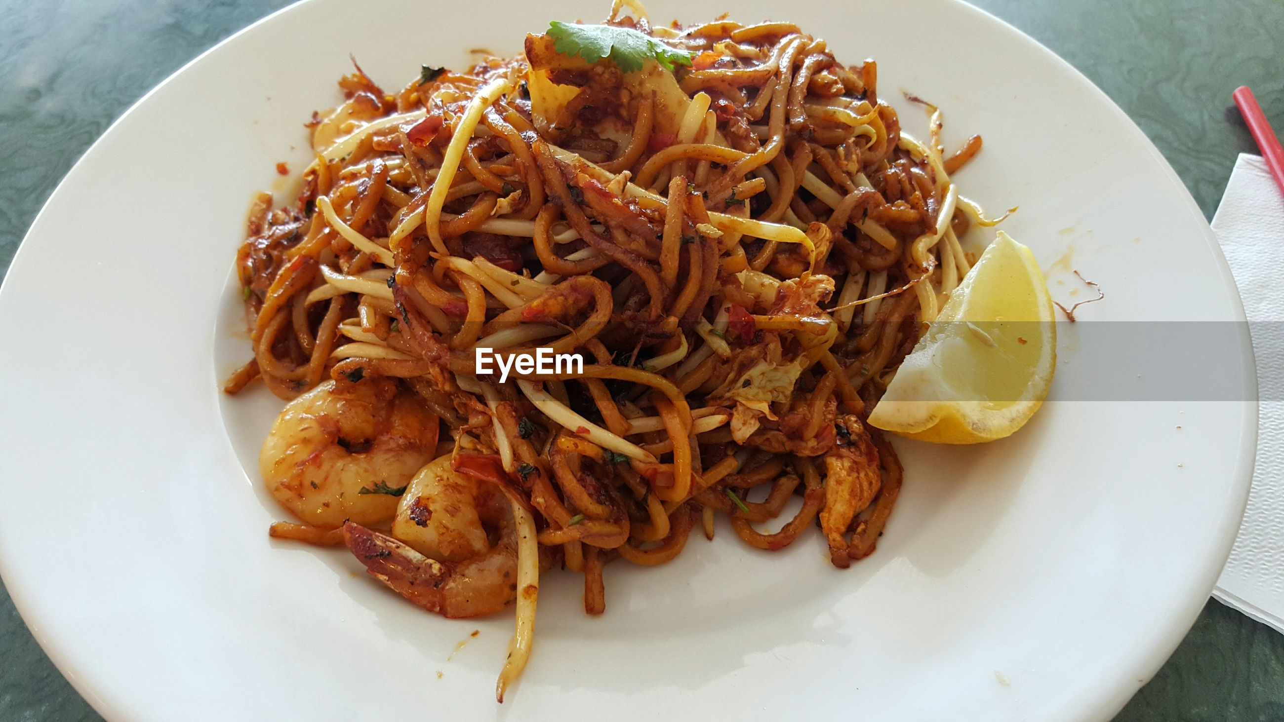 Elevated view of pasta with shrimps on plate