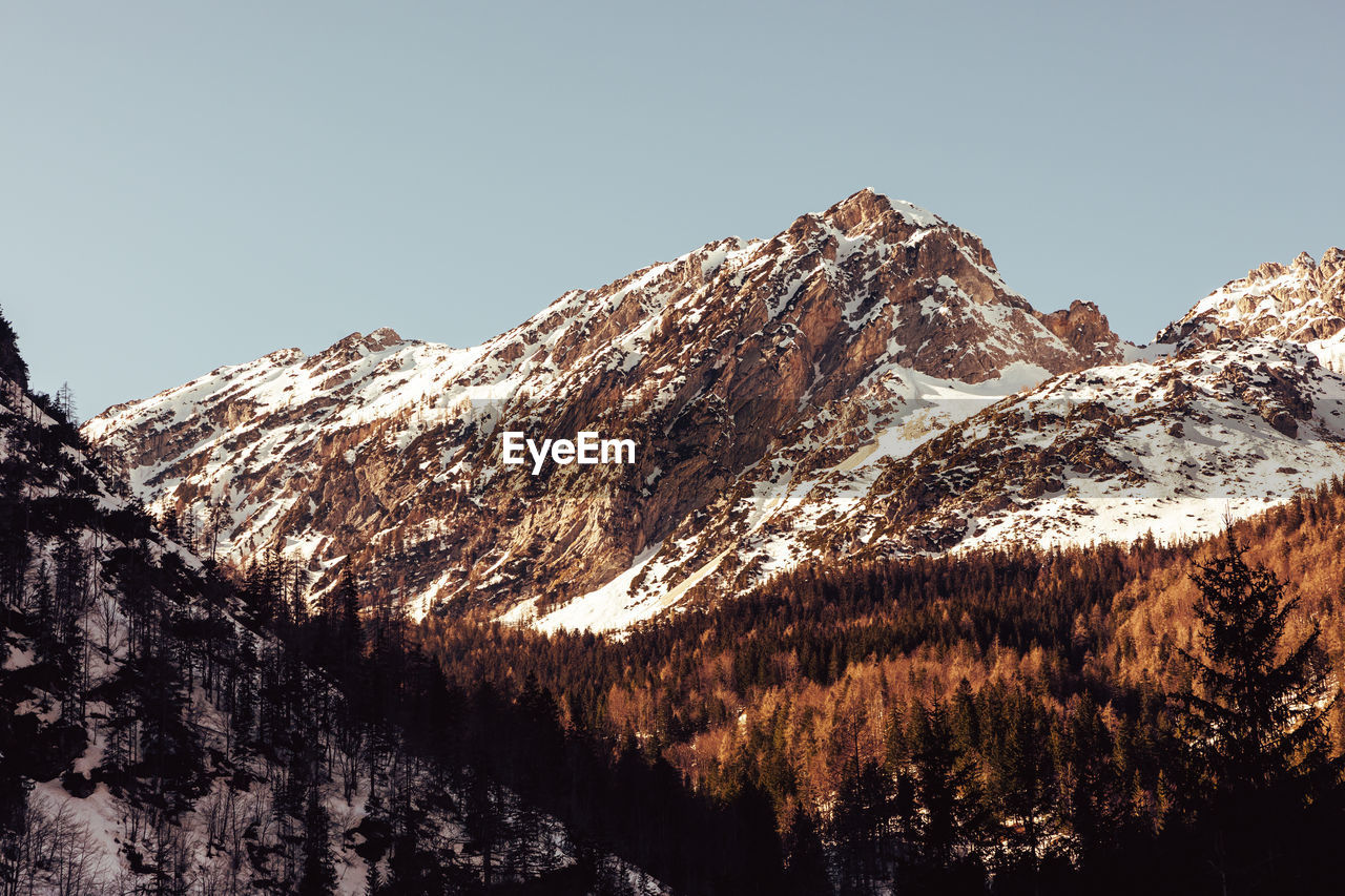 View of the snow covered mountain in slovenian alps near kranjska gora, against clear sky