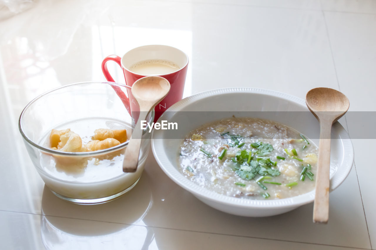 food and drink, bowl, food, high angle view, table, indoors, no people, freshness, ready-to-eat, serving size, plate, healthy eating, close-up, day
