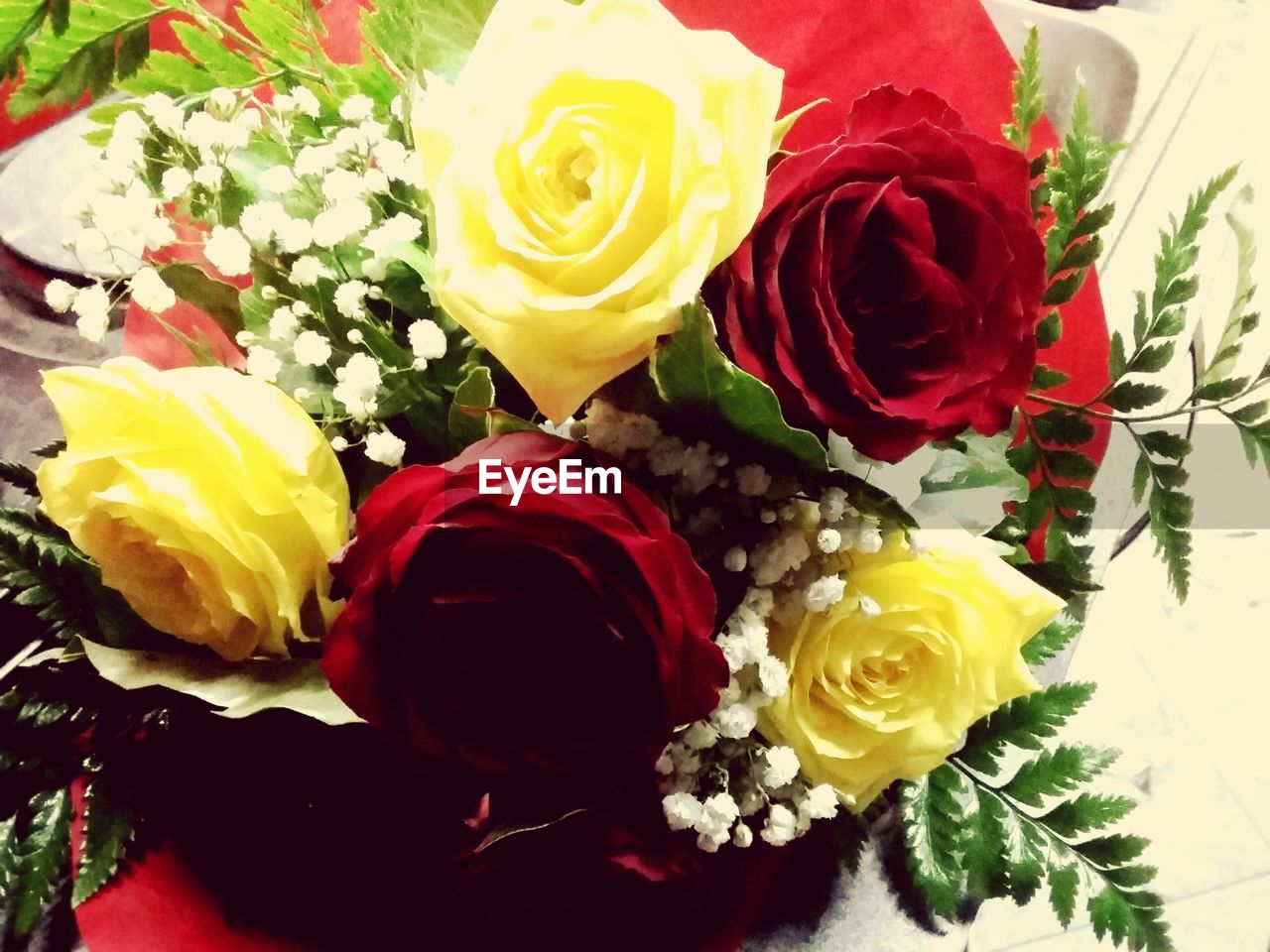 flower, rose - flower, yellow, petal, bouquet, flower head, celebration, multi colored, flower arrangement, fragility, freshness, gift, beauty in nature, no people, variation, indoors, close-up, ribbon - sewing item, red, nature, day, florist
