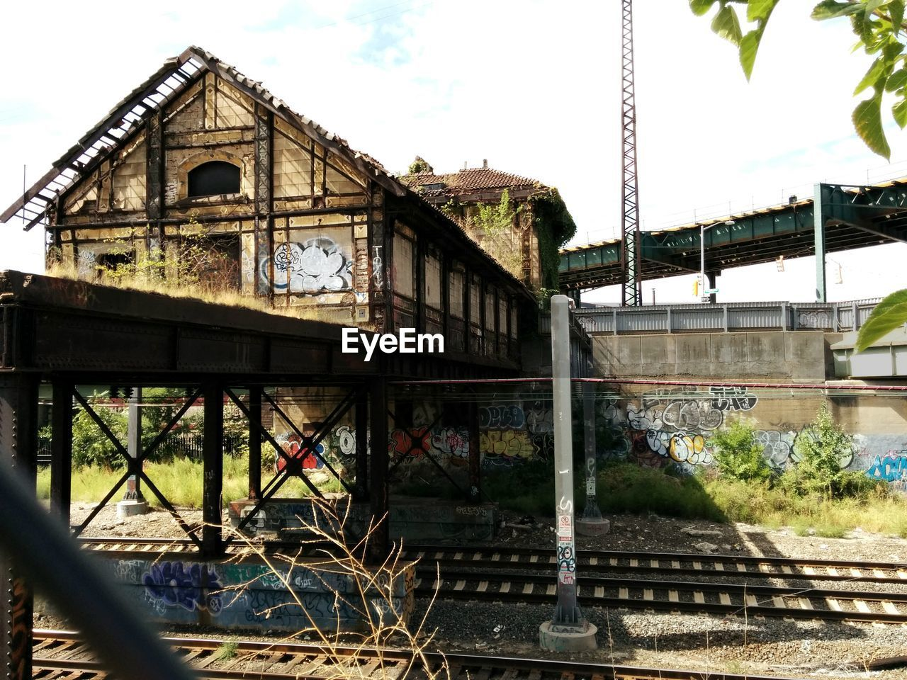 Low angle view of abandoned railroad station
