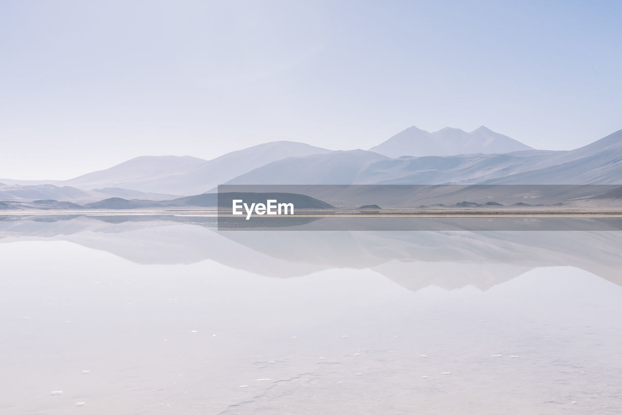 Reflection Of Mountains In Sea Against Sky