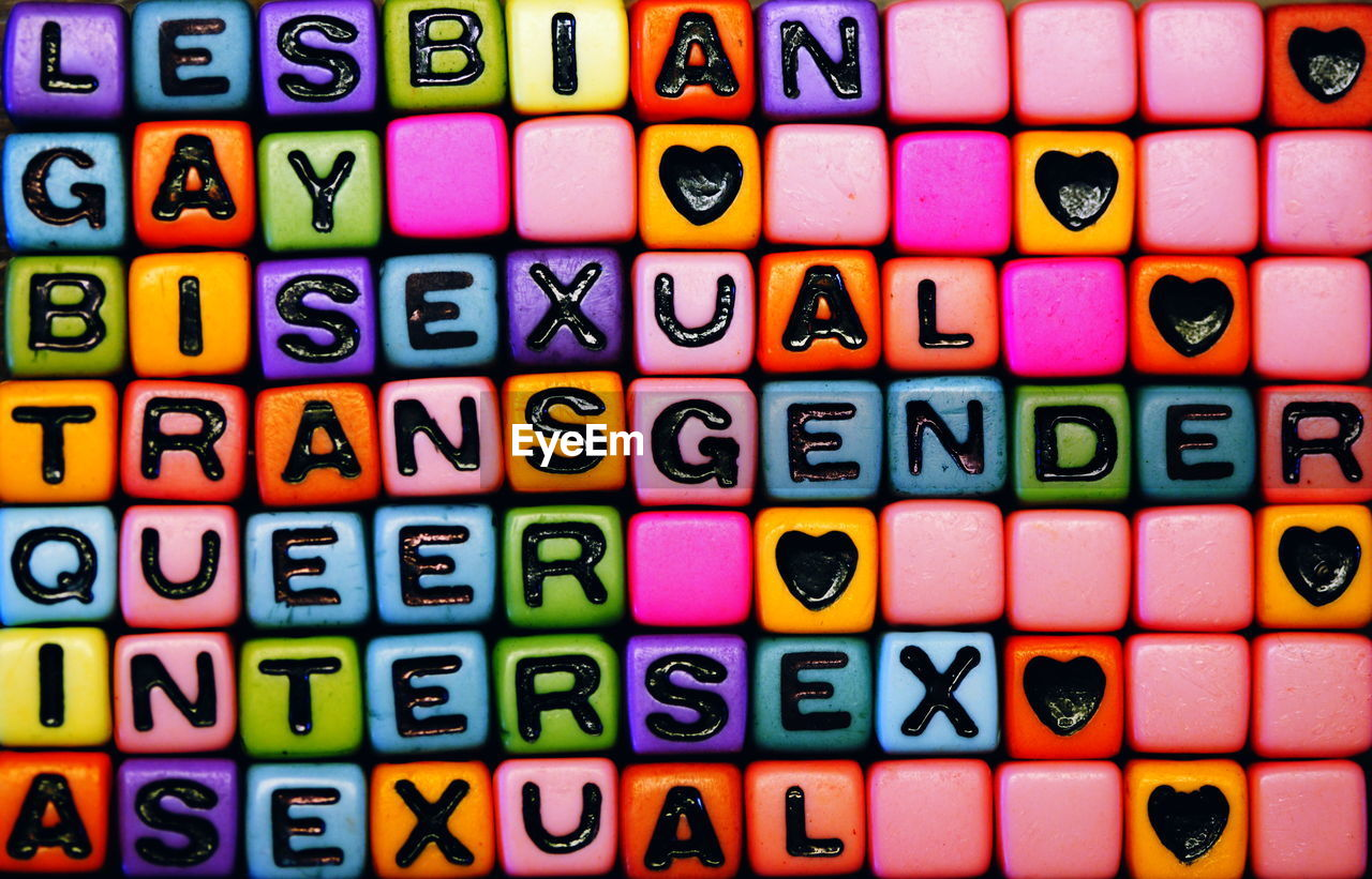 Full Frame Shot Of Colorful Toy Blocks With Text