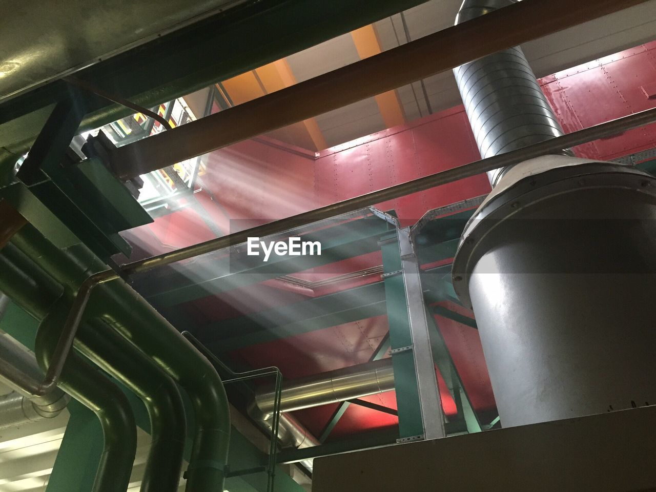 indoors, low angle view, no people, factory, day, close-up