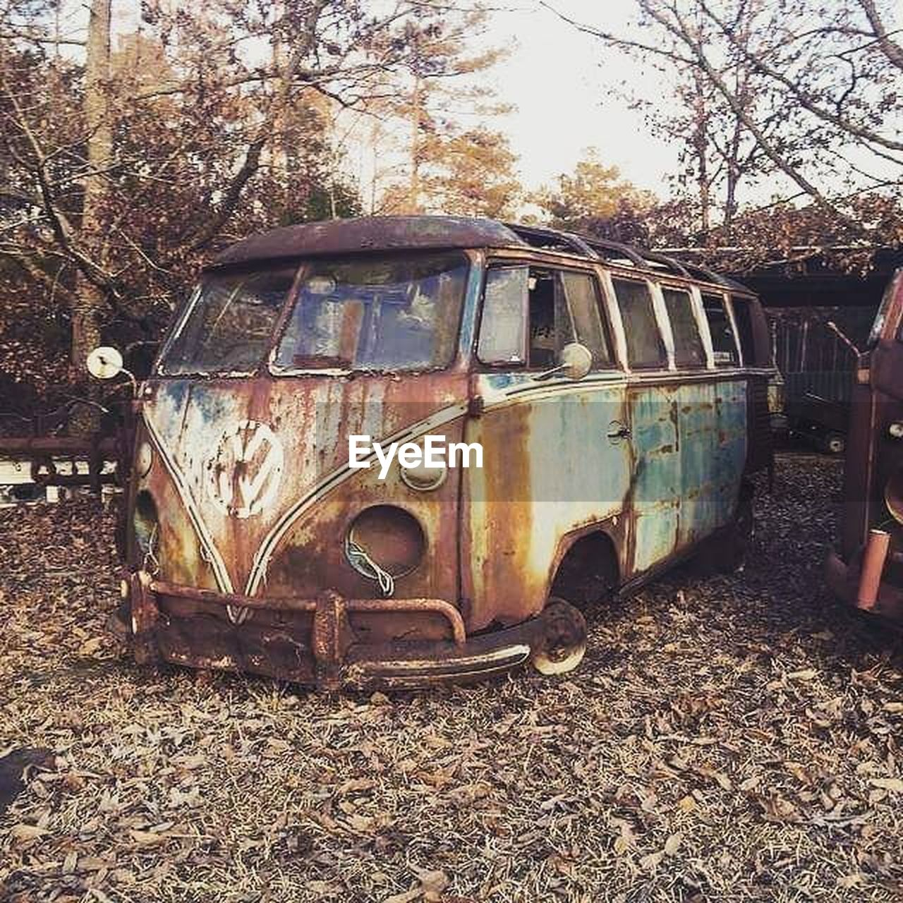 abandoned, obsolete, damaged, rusty, transportation, tree, mode of transport, no people, day, outdoors, sky