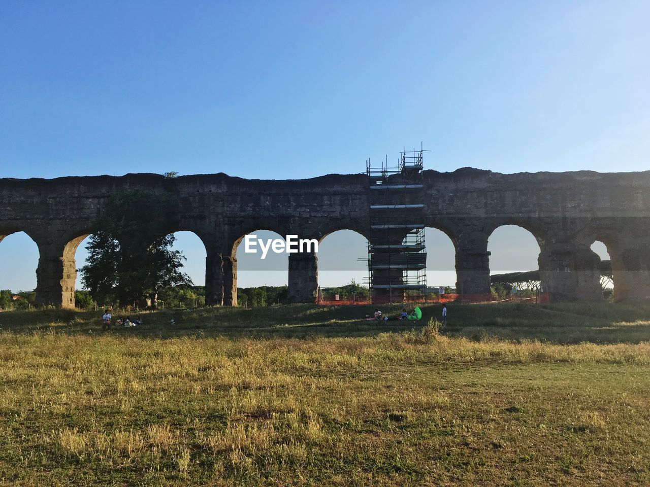arch, connection, copy space, built structure, bridge - man made structure, clear sky, architecture, day, grass, transportation, nature, train - vehicle, blue, no people, sky, landscape, outdoors