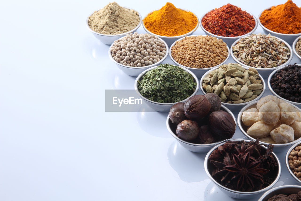 High angle view of various spices in bowl on table